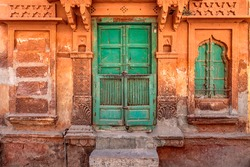 Wood Carved door in the Blue City of Jodhpur, Rajasthan , India.