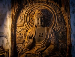 Wood carving of Buddha Tathagata, Buddha sculpture