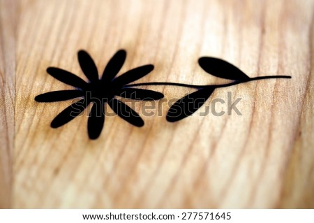 Wood carving work on flower. Hand made art and craft wood work.