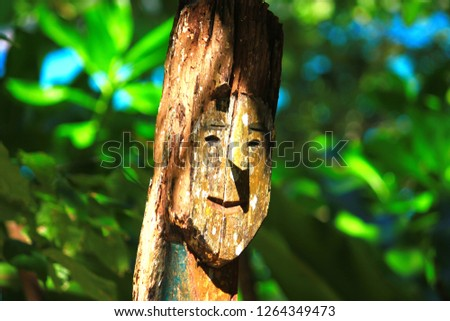 Wood carvings Moken ancestors represent the symbols of the ancestors from the Moken village in the Andaman Sea , Local Lifestyle Asia