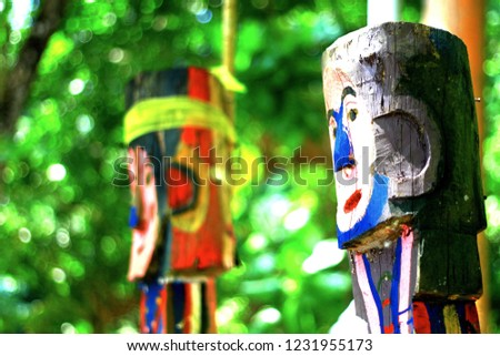 Wood carvings Moken ancestors represent the symbols of the ancestors frome the Moken village in the Andaman Sea