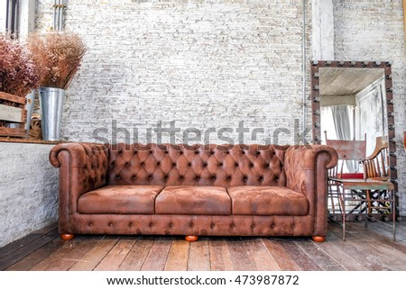 wood chair  in modern loft room (grunge wall and wood floor)