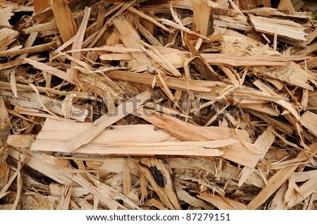 Wood-chips Close-up of a wood-chip stack - stock photo