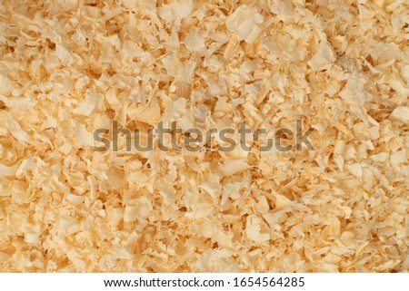 Wood chips texture, saw dust background close up. Sawdust chipping, pinewood shavings top view with natural day light