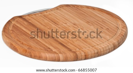 Wood chopping board on a seamless white background