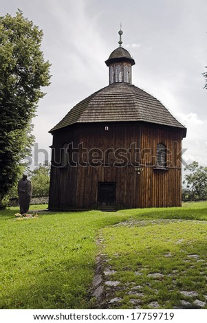wood church with john paul II sculpture, Cracow, Krakow