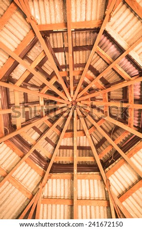 Wood circle structure under roof tile