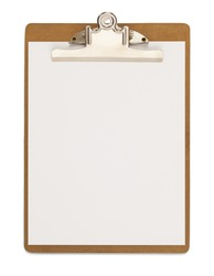 Wood Clipboard with Blank Paper Isolated on a White Background.