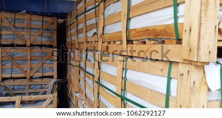 wood crate container storage cargo rock inside #1062292127
