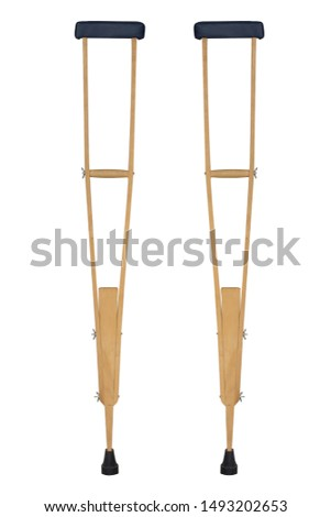 Wood crutches or walking stick for  Leg pain on white background #1493202653