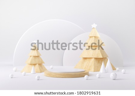 Wood cube podium and minimal abstract background for Christmas, 3d rendering geometric shape, Stage for product