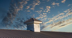 Wood cupola on an old pier roof under blue sky
