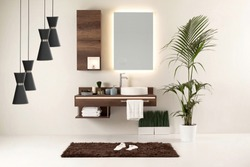 wood design bathroom and interior design. decorative objects for the home, office, hotel