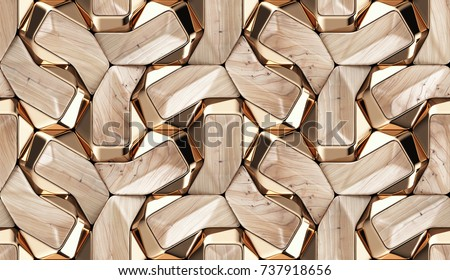 Wood design 3d texture with gold decor. Material wood walnut and gold. High quality seamless realistic texture.