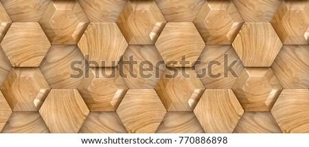 Wood design faceted hexagon 3d panels