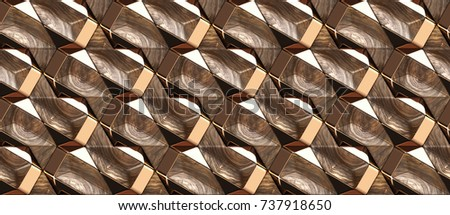 Wood design modular 3d texture with red gold decor. Material wood walnut and gold. High quality seamless realistic texture.