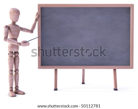 Wood doll stand up beside the black board. Put on blackboard your text, logo, chart, sign, etc.