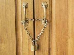 wood door is lock and chain
