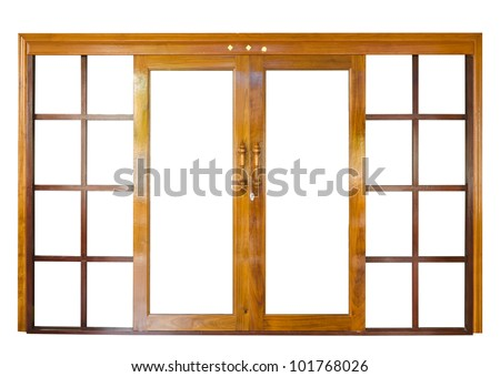 Wood door  isolate on white background