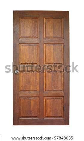Wood door isolated on white