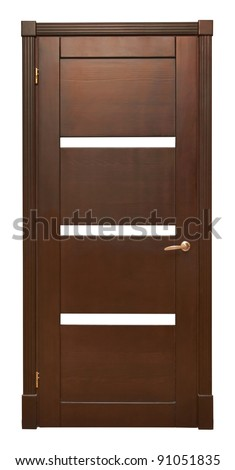 Wood door isolated on white background