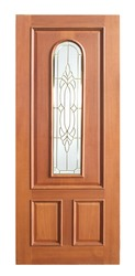 Wood door with glass on white background, vintage style.