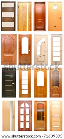wood doors on a white background.