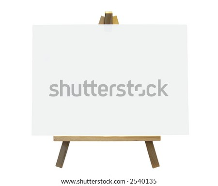 Wood Easel With White Canvas On A White Background, Isolated
