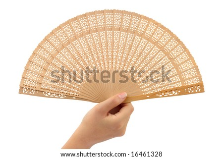 Wood fan in woman hand isolated on white background