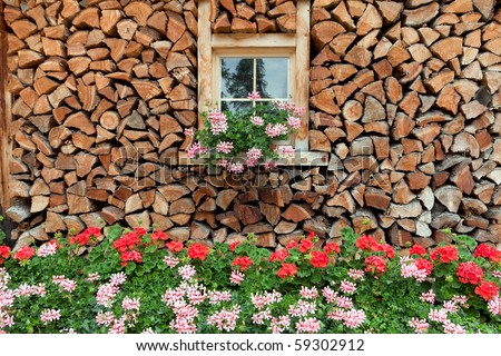 stock photo : Wood Farm House in the Pontresina area of the Engadin region in Switzerland.