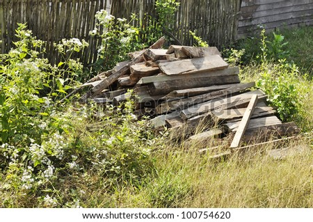 Wood Firewood Grass Garden Old Country