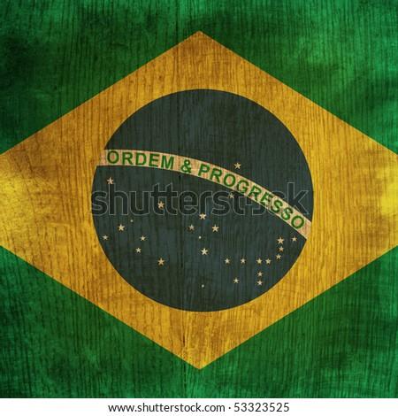 wood flag of brazil