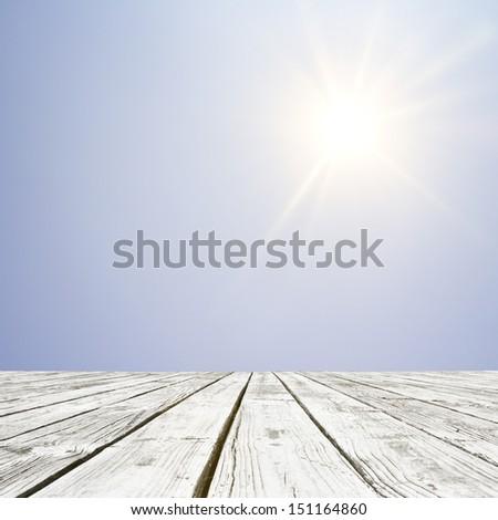 wood floor and beautiful shining sun background