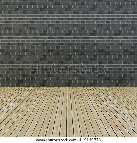 Wood floor and pattern brick wall interior - stock photo