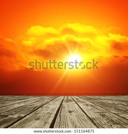wood floor and shining sun background