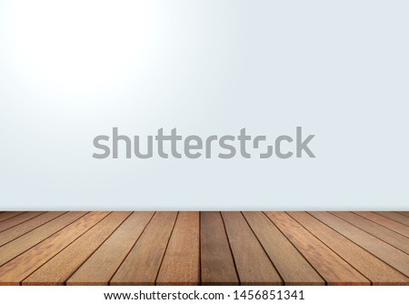 Wood floor and white wall, empty room for background. Big empty room in grange style with wooden floor, 3d wall #1456851341