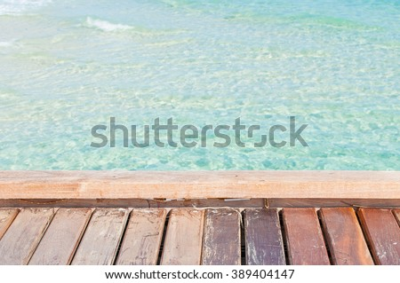 wood floor at the sea.