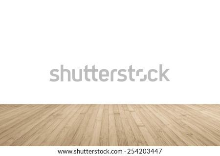 Wood floor perspective view with wooden texture in light brown color isolated on white wall background for room interior design decoration backdrop #254203447