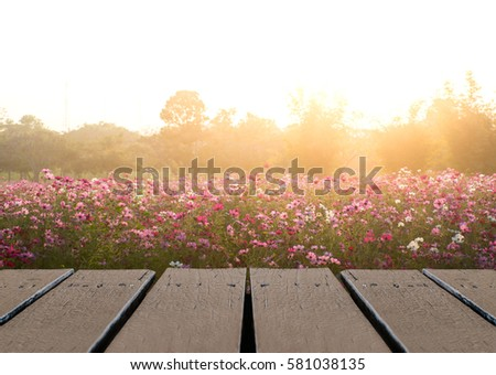 Wood floor table scene of beautiful sunset sunrise sky over flower field. Holiday vacation travel relax background with copy space for decorate design. #581038135