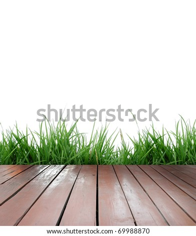 wood floor with green grass and white background
