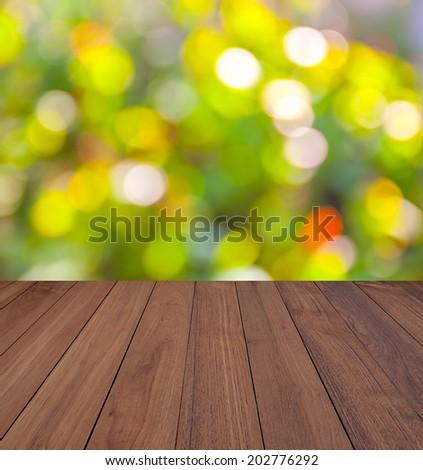 wood floor with Shining light