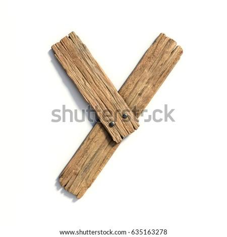 Wood font, plank font letter Y Zdjęcia stock ©