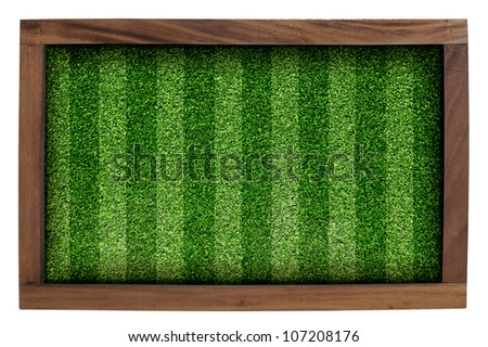 Wood frame and artificial turf green isolated on white background.
