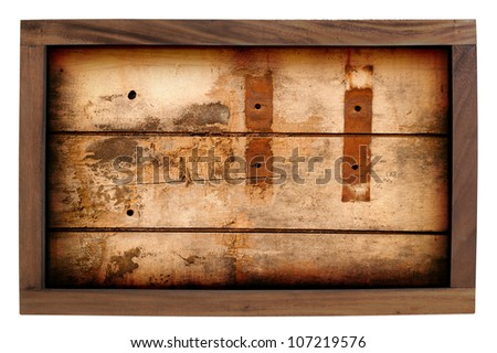 Wood frame grunge style isolated on white background.
