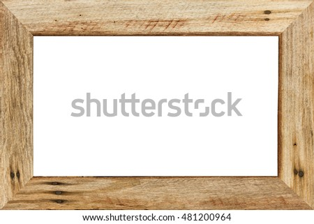 Wood frame isolated on white background.