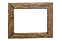 wood frame isolated on white background with clipping path