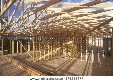 Wood frame of house under construction,  Lone Pine, CA