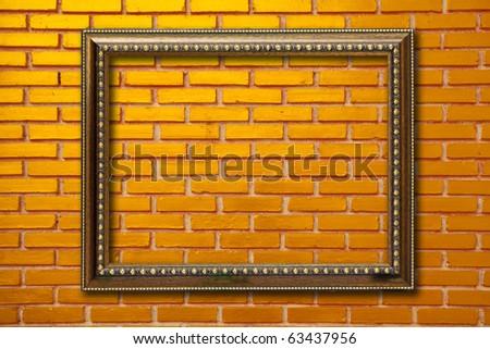 wood frame on brickwall