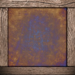 wood frame with corroded metal background