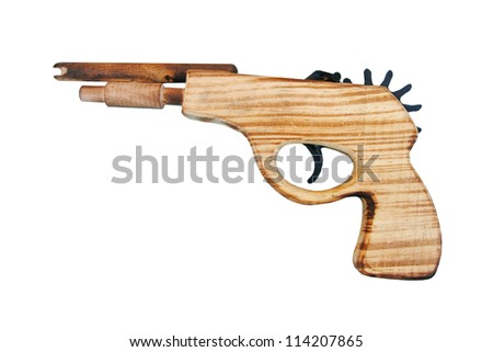 wood gun isolated, toy